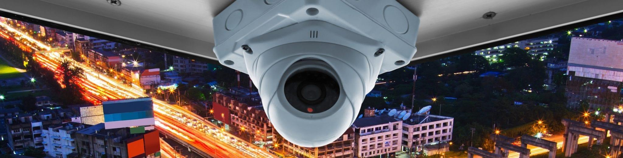 security cameras on a balcony high building
