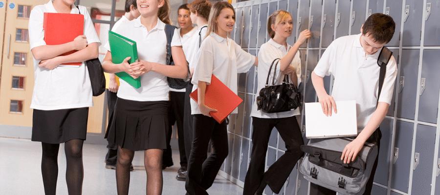 school students by school lockers